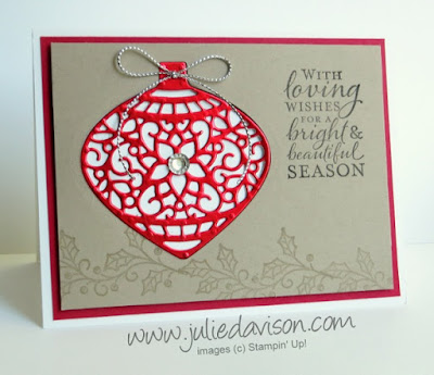 Stampin' Up! Embellished Ornaments + Delicate Ornaments Christmas Card #stampinup 2015 Holiday Catalog www.juliedavison.com