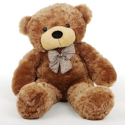 Boneka Teddy Bear Cokelat Pakai Dasi Motf Kotak-Kotak
