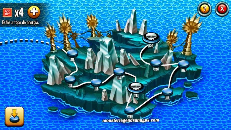 imagen de la segunda nueva isla del mapa de aventuras de monster legends