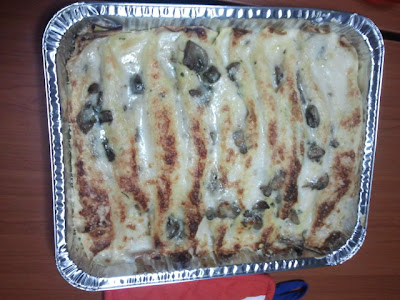 Crepes al forno con funghi, pancetta e scamorza e besciamella