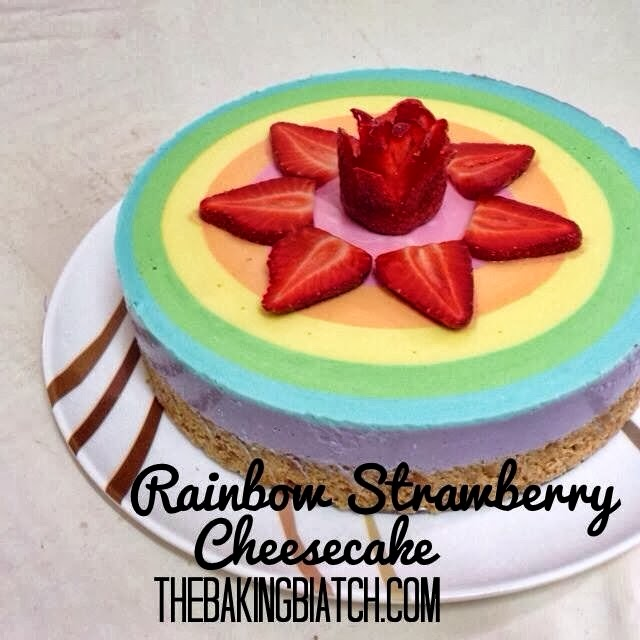 ... Biatch || by Cynthia Lim: Cynthia's Rainbow Strawberry Cheesecake