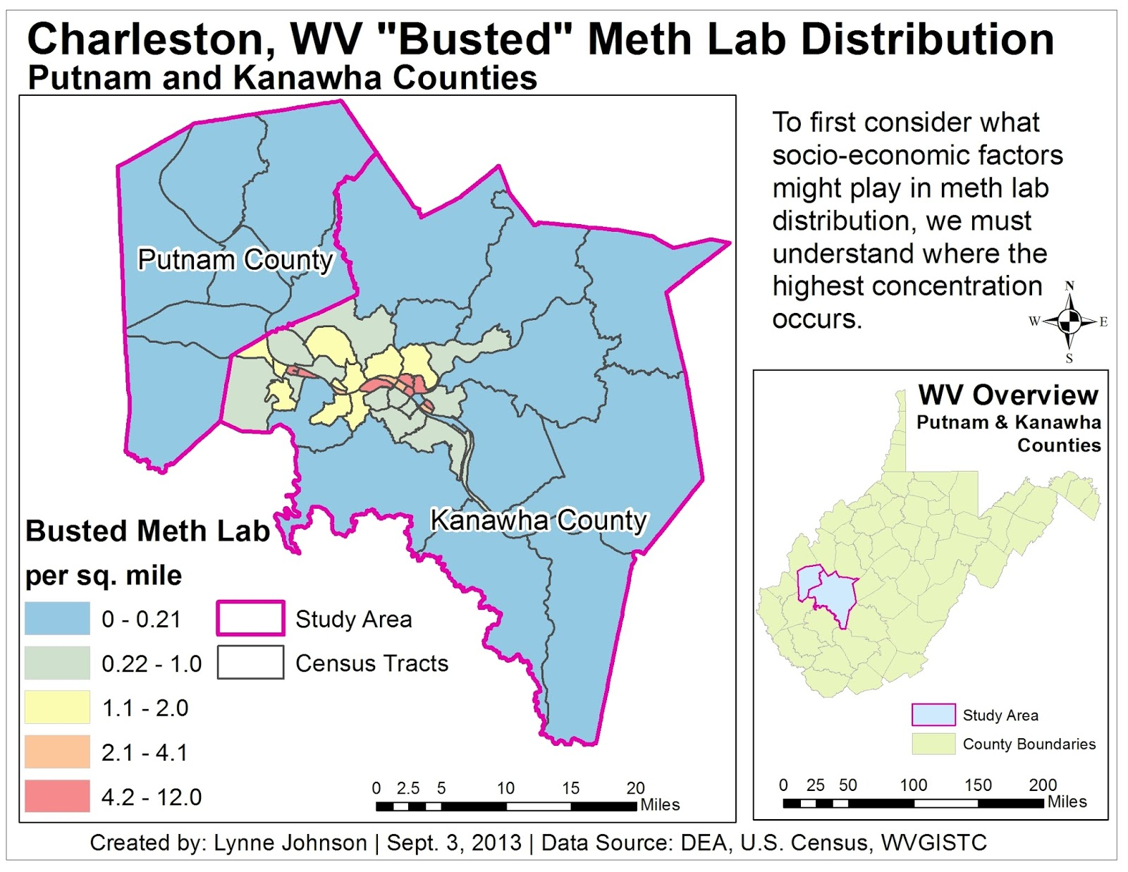 base map of study area for meth lab distribution study in charleston west virginia