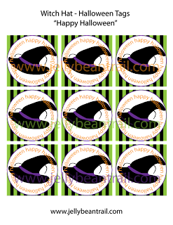 Free Printable Witch Hat Halloween Tags