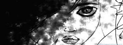 Couverture facebook noir et blanc femme manga