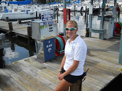 College student/dock worker, Lauren helping us with the ins and outs of boating.