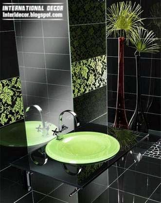 scroll ahead green and black tile bathroom selection elegant