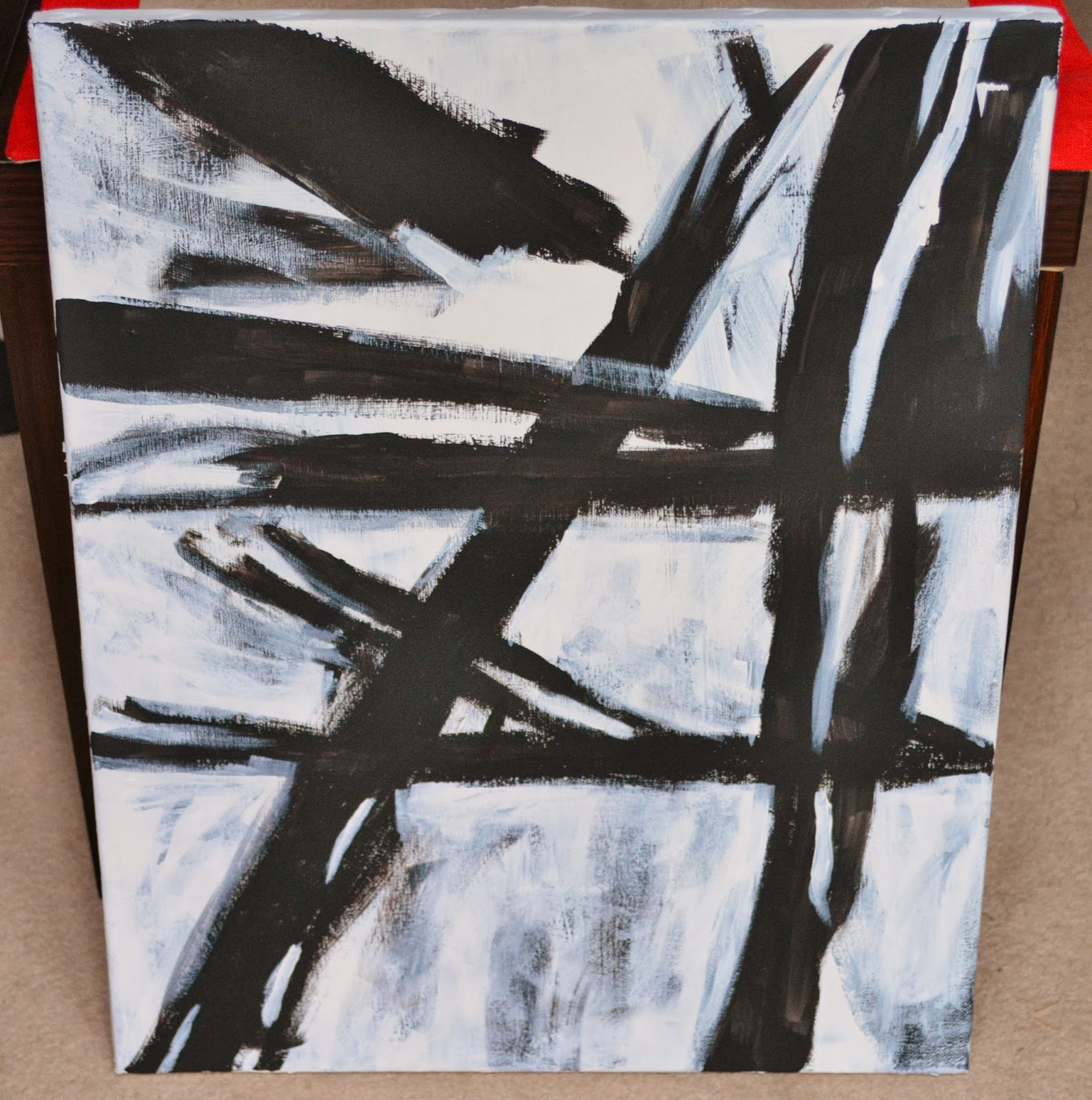 Oh sarah o diy west elm abstract painting franz kline for Diy abstract wall art