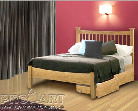 Giường đôi gỗ sồi 2 ngăn kéo Aston 1.6 x 2m xuất khẩu Mỹ