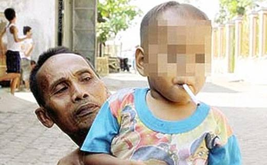 A 2 Years Old Boy Smokes Cigarette Since He Was 4 Months