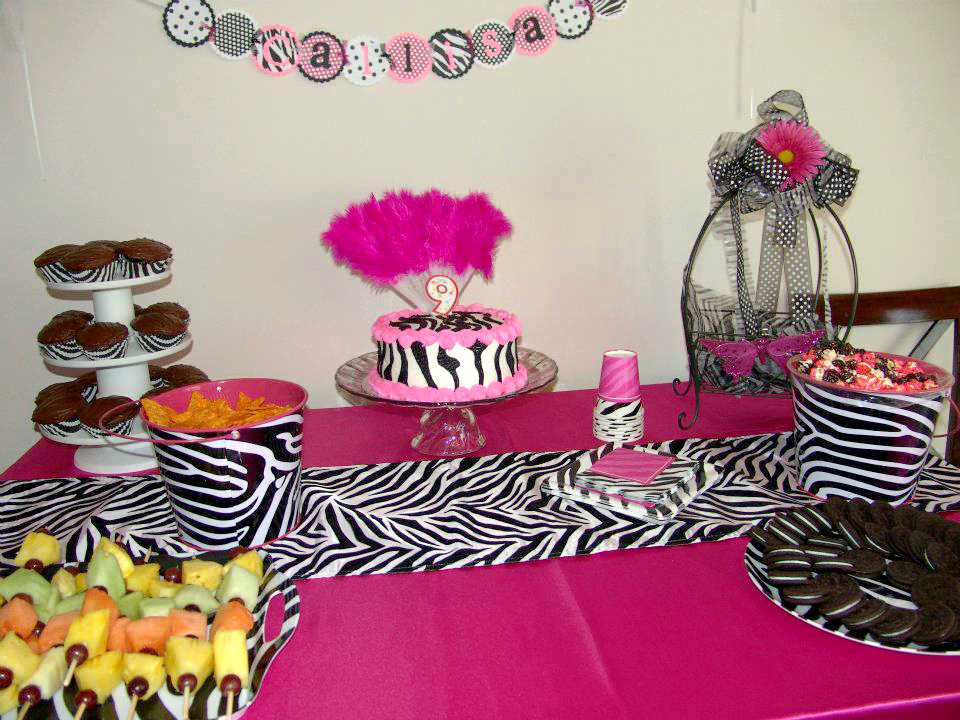 My creative way zebra spa party decorating ideas for Pink and zebra bathroom ideas