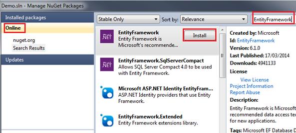 Installing Entity Framework