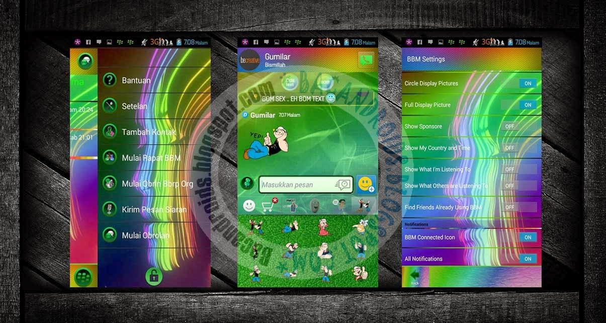 download BBM Mod 2.7.0.23 Rainbow Theme Full pelangi gratis