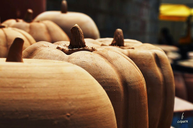 pumpkin shaped earthen pots pottery town