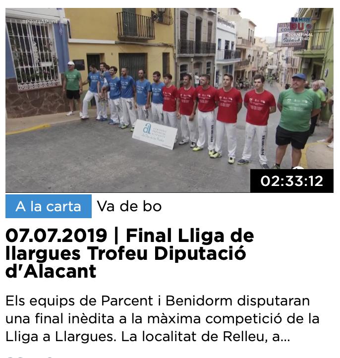 20190706-RELLEU-VIDEO-Final de lliga a llargues -Trofeu Diputació d'Alacant 2019-RELLE