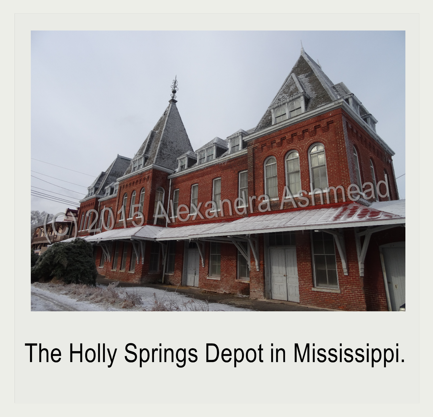 Holly Springs Depot After a Snow Storm (c) 2015 Alexandra Ashmead