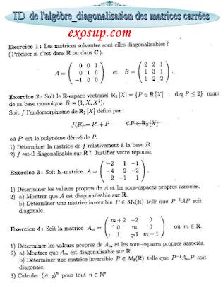 Exercices corrigé La diagonalisation des matrices carrées