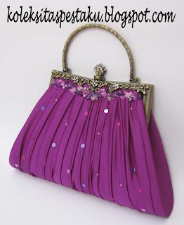 Tas Pesta Ungu Model Behel Payet Ungu Handmade Mewah Elegant