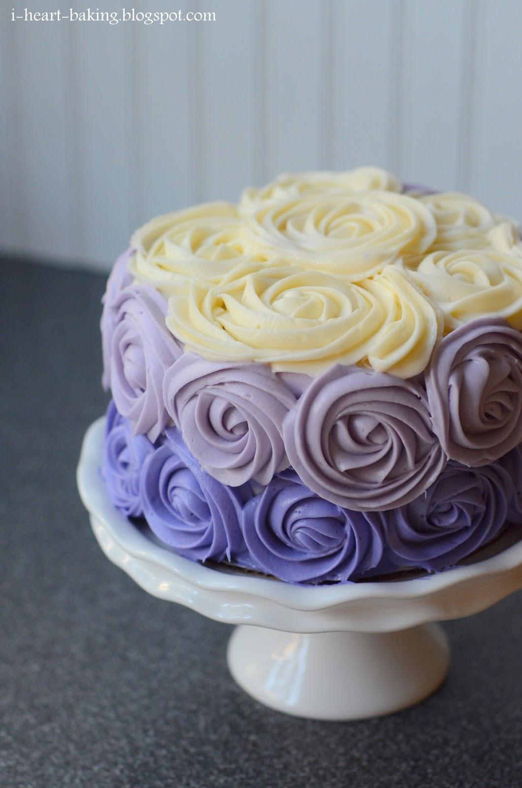 i heart baking purple ombre roses cake