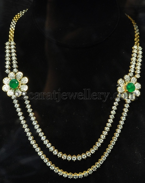 Classy Double String Diamond Set Jewellery Designs