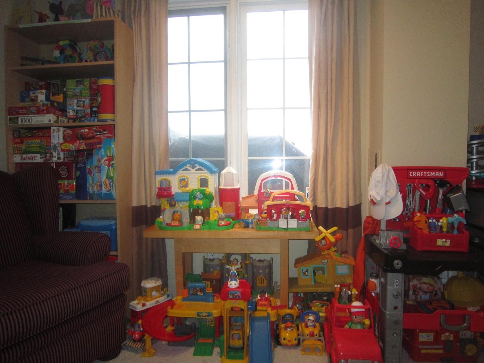 Home decor, playroom organization, toy organization, brown drapes