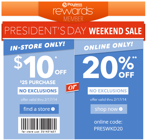 Payless coupons 10 off in store