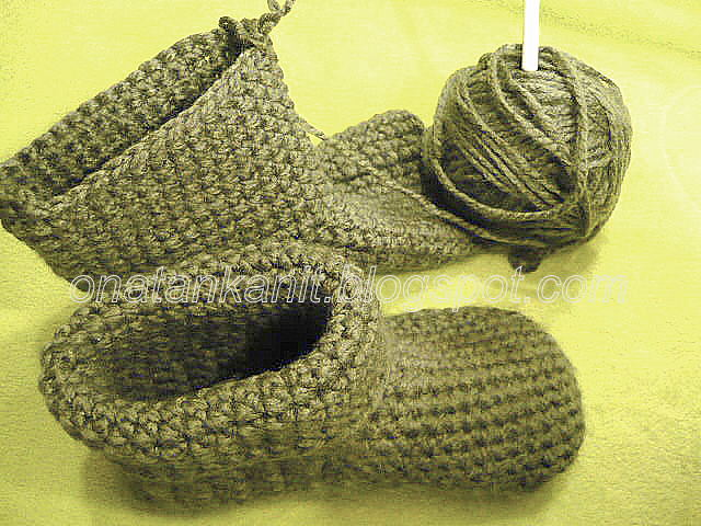 Winter crocheted slippers boots