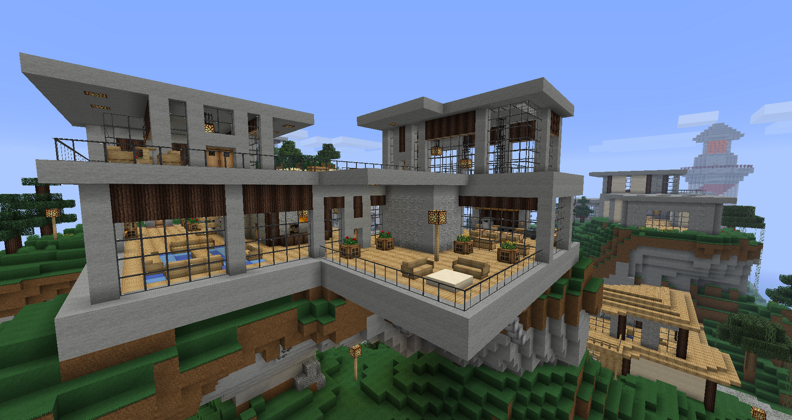 Ruked on minecraft modern house schematics 01 - Modern house minecraft ...