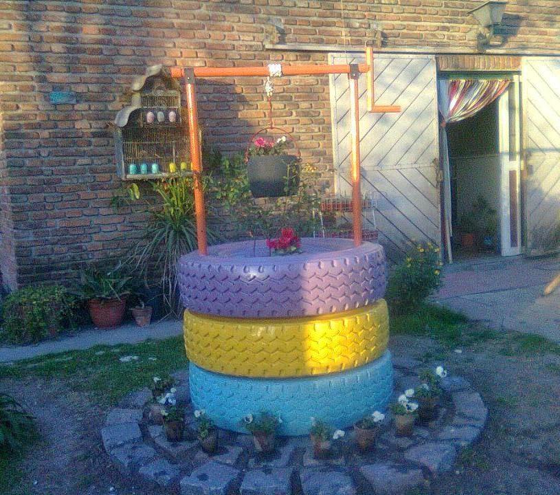 decoracion de jardines con gomas de auto
