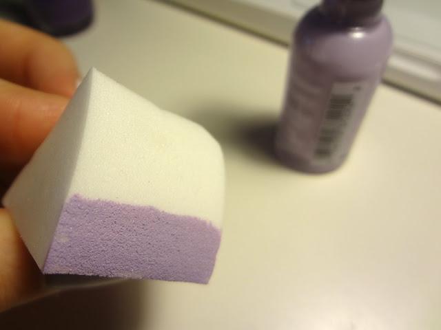 nail polish on makeup sponge