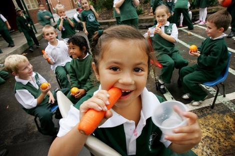 School Kids eating healthy food