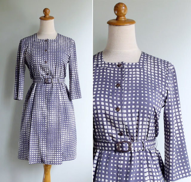 vintage 70's geometric secretary dress