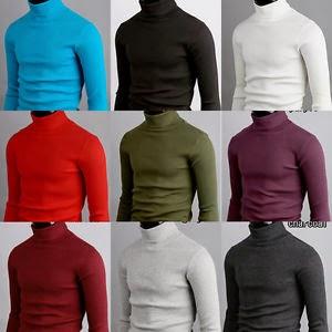 Korea Top Mens Turtleneck Sweater Shirts Stretch Cotton Turtle