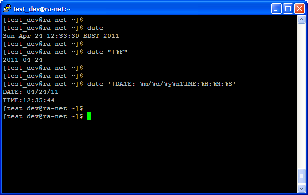examples: UNIX Command Example: date - Display Date