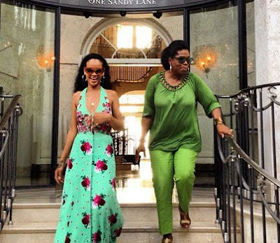 Oprah and Rihanna in Barbados