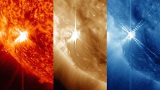 Изображение солнечной вспышки, сделанное в трех разных длинах волн