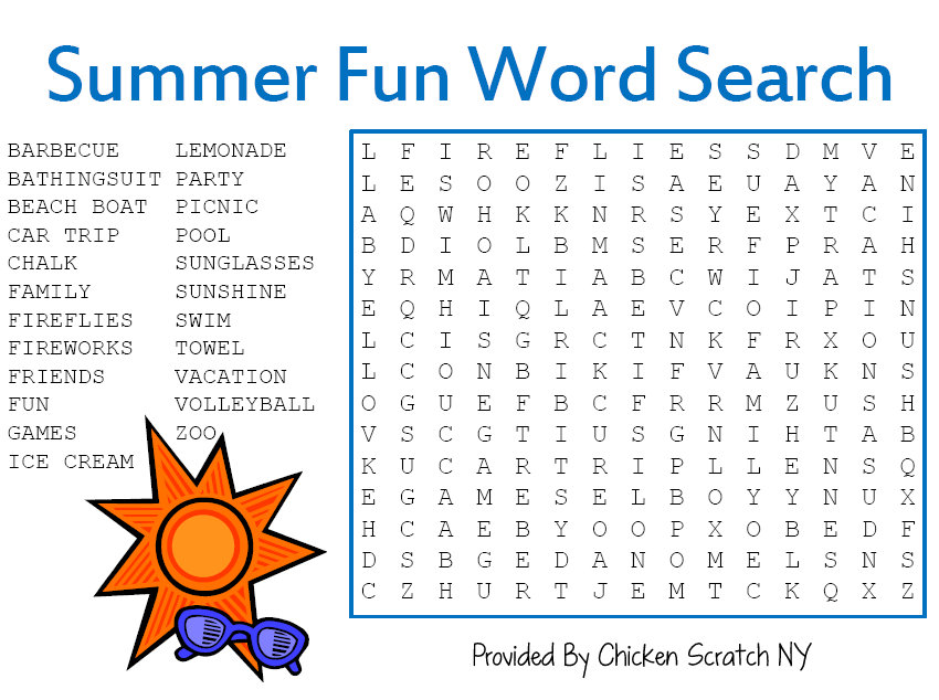 Printable summer word searches