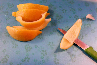 cut away the pith from a blanched orange