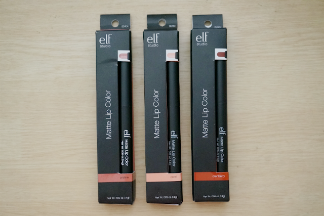 e.l.f. Studio Matte Lip Color: (L-R) Praline, Coral, Cranberry