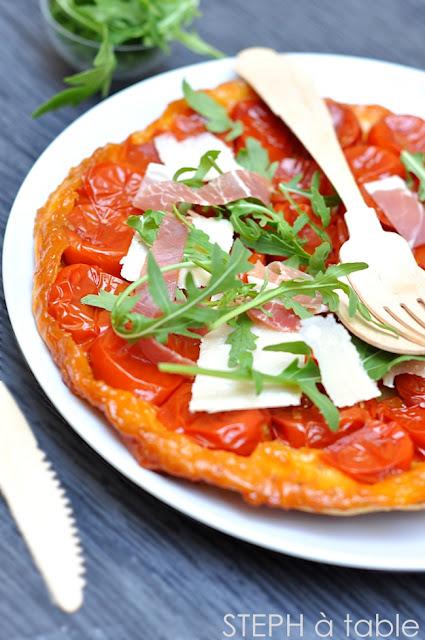 Tatin de tomates cerises roquette et jambon cru aoste stephatable - Tarte soleil jambon cru ...