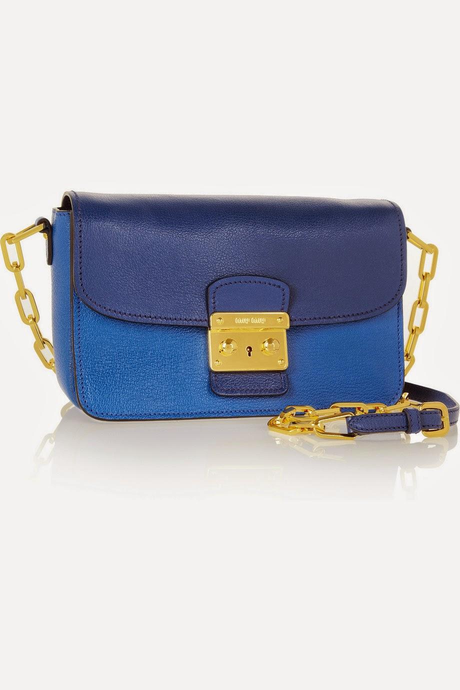 Net-a-Porter Miu Miu Bandoliera Madras two-tone leather shoulder bag