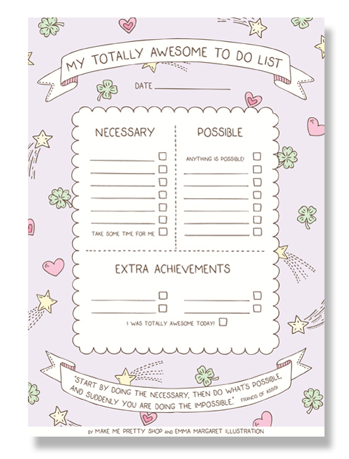 Emma Margaret Illustration Make Me Pretty Shop My Totally Awesome To Do List 2015