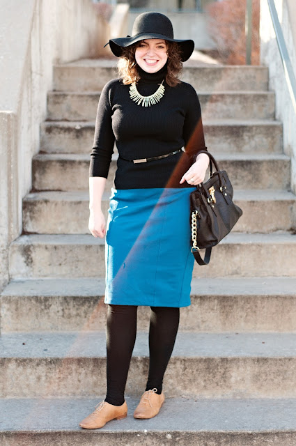 Bright Pencil Skirt and Black Top
