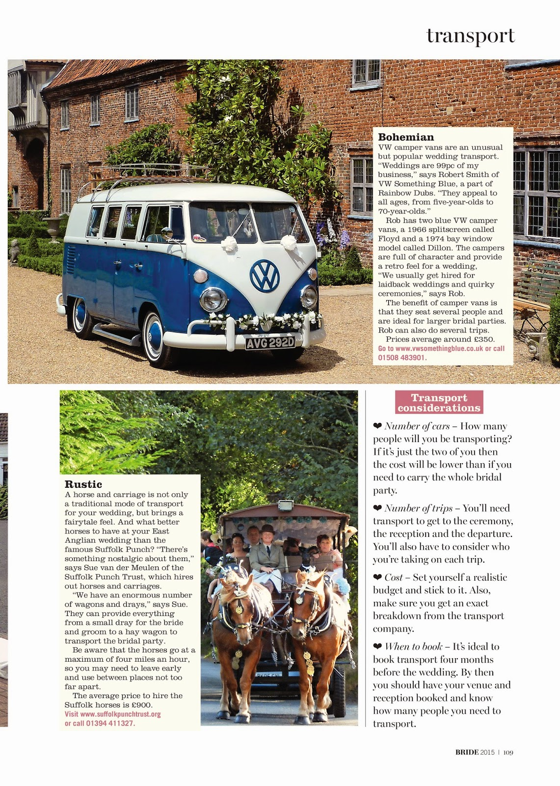 Wedding transport - Bride magazine