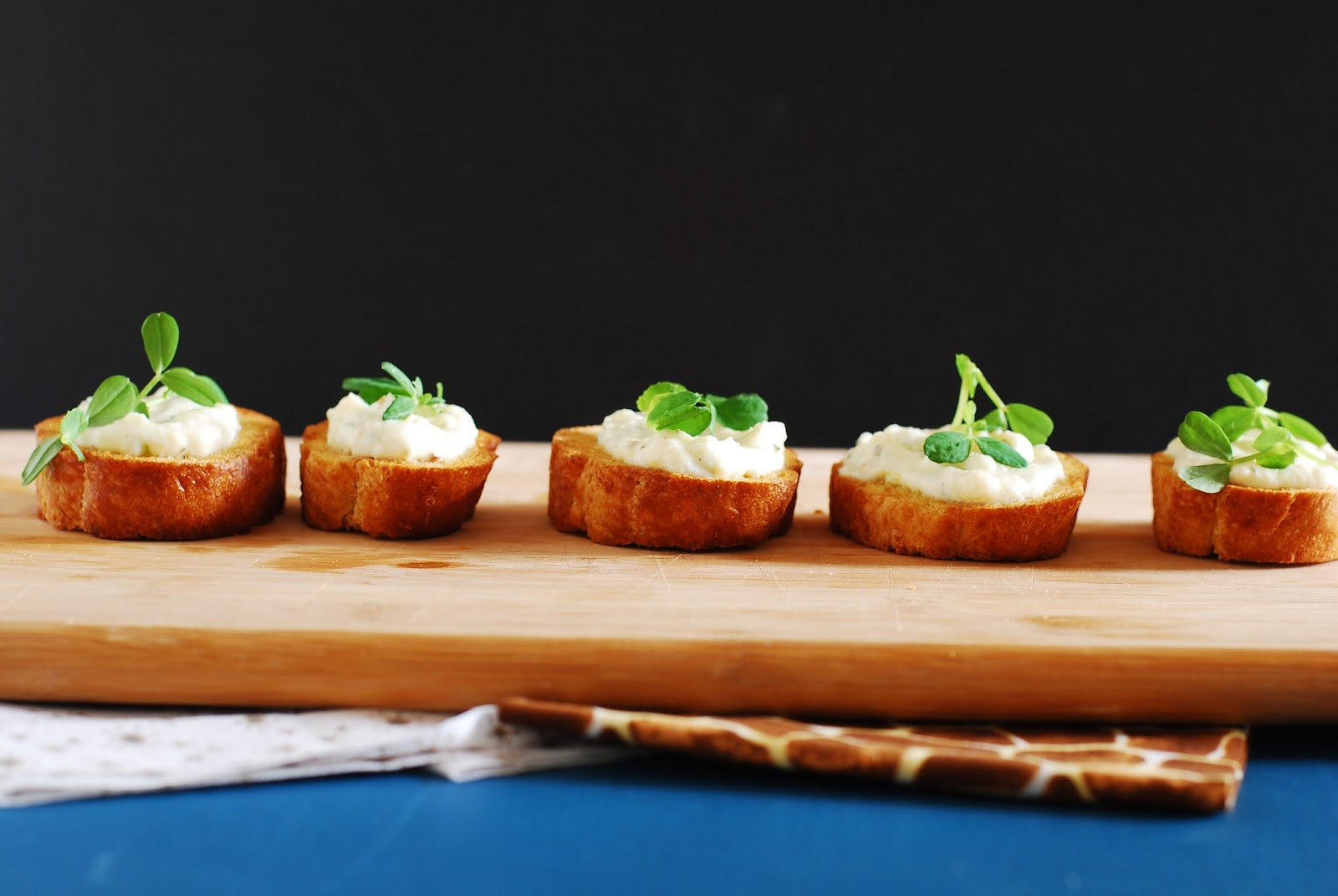 Call Me Fudge: Pea Shoot Crostini