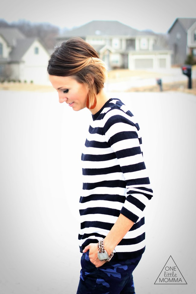 Navy and white striped sweater with navy camo and camel ankle boots