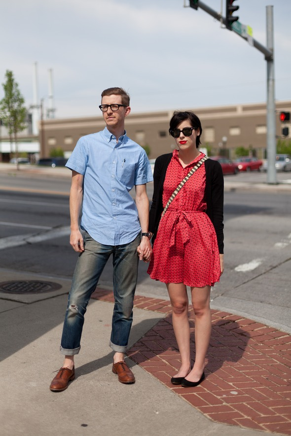 street style, guys from New York, guys from Charlotte, fashion in roanoke va, button down shirts, APC jeans, dress shoes, black ballet flats, red polkadot dress, wayfarer sunglasses,couples fashion, street style in virginia southern street style southern fashion,