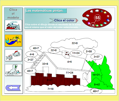 Las matemáticas pintan. Juego de sumar y pintar,juego,pintar,sumas,Matemáticas,operaciones,básicas