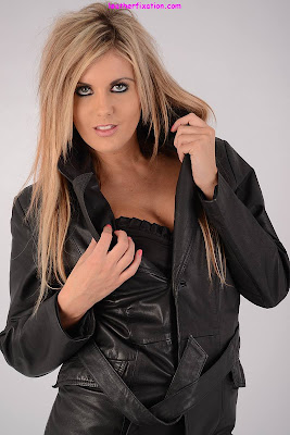 Sexy Blonde in Leather Trench Coat Reveals her Lingerie