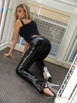 Sexy Ass in Black Latex Jeans