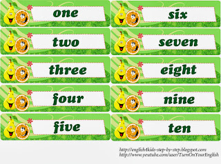 numbers flashcards for teaching english to kids
